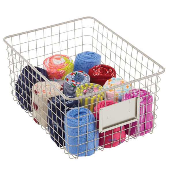 Wire Closet Baskets Slotted for Labels