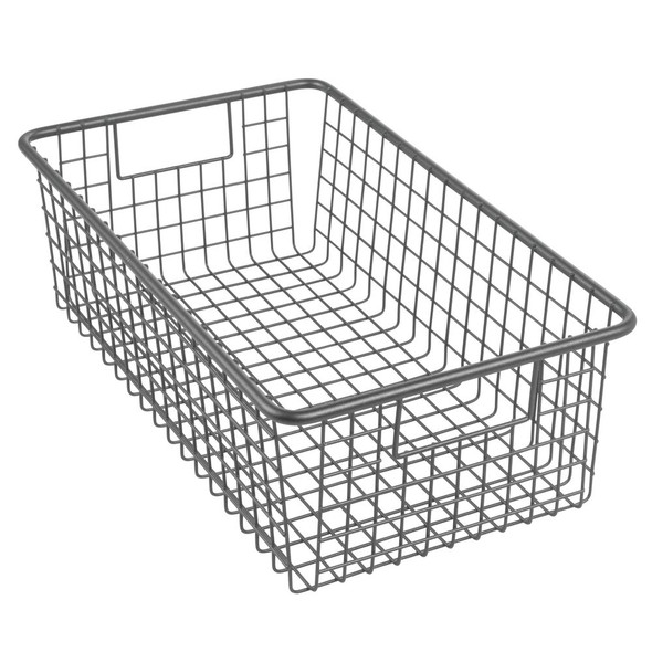 "Metal Wire Home Office Storage Basket in Bronze - 16"" x 9.5"" x 5.25"""