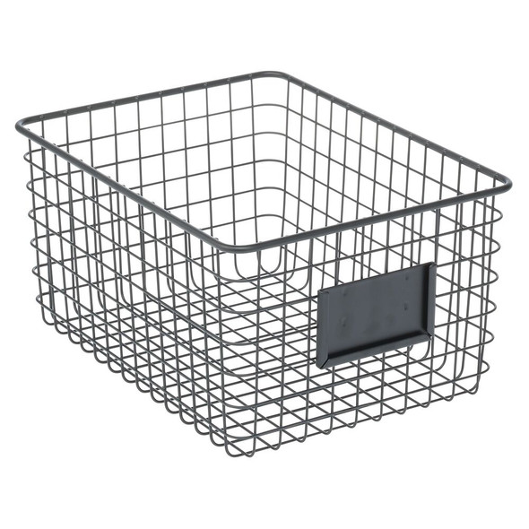 Wire Bathroom Storage Basket with Slots for Labels
