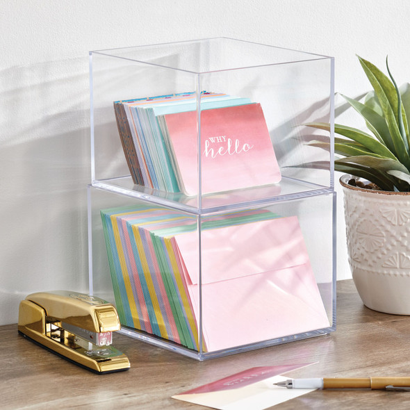 """Plastic Square Stacking Desktop Office Organizer, Pack of 3 - 7.5"""" x 7.5"""" x 6"""""""