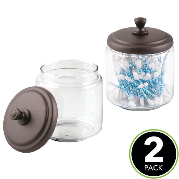 Glass Apothecary Canisters with Bronze Lid - Pack of 2