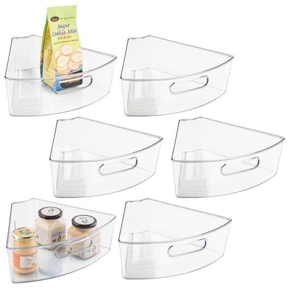 Clear Plastic Lazy Susan 1/6 Section Bins - Pack of 6