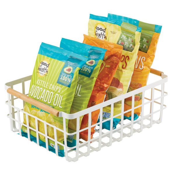 Kitchen Pantry Metal Wire Basket with Bamboo Handles - Pack of 2