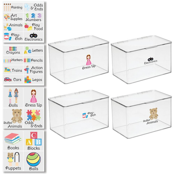 """Plastic Toy Bins with Labels - 7.1"""" x 10.7"""" x 6.5"""" - Pack of 4"""