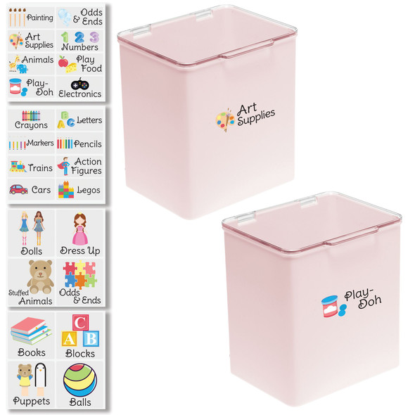 "Plastic Toy Bins with Labels - 5.5"" x 6.6"" x 7"" - Pack of 2"