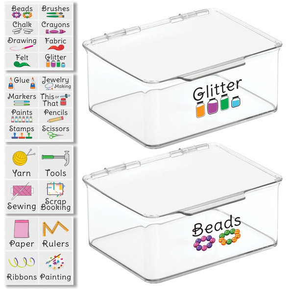 "Plastic Craft Storage Bin with Labels - 5.6"" x 6.7"" x 3"" - Pack of 2"