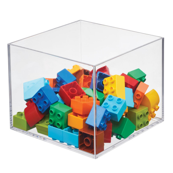 "Plastic Sqaure Stacking Toy Storage Bin - 7.5"" x 7.5"" x 6"""