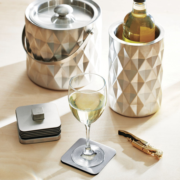 Stainless Steel Square Coaster Set with Holder - Set of 6