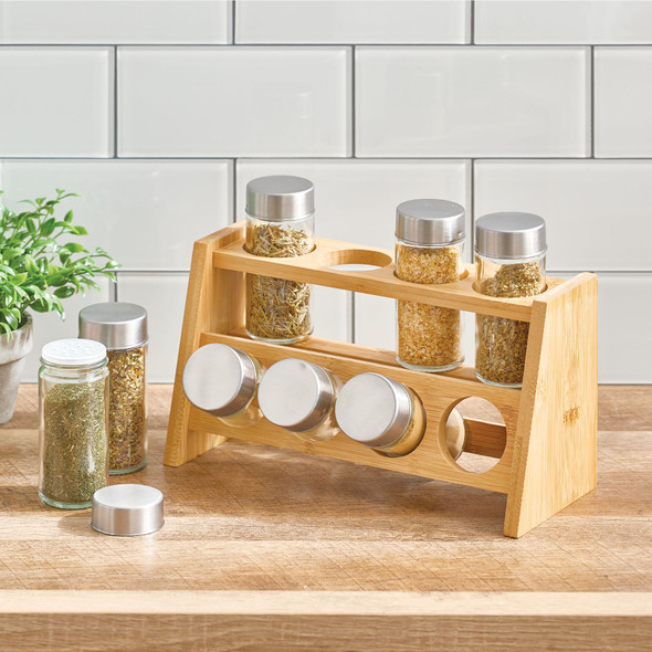 Bamboo Countertop Kitchen Spice Rack with Glass Jars