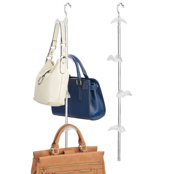 4 Hook Hanging Handbag & Accessory Holder in Silver/Frost - Pack of 2