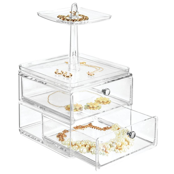 2 Drawer Acrylic Jewelry Earring, Ring Display Rack Stand and Ring Dish
