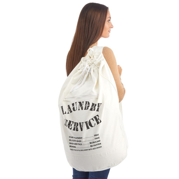 Fabric Backpack Laundry Bag with Drawstring Closure and Zippered Pouch