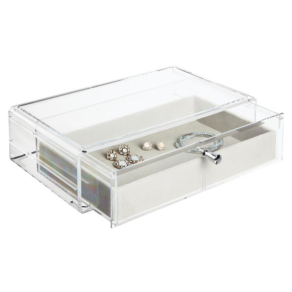 Jewelry Display Box Storage Case with Felt-Lined Drawer