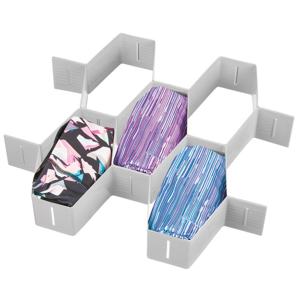 11 Section Plastic Honeycomb Drawer Organizer - Pack of 2