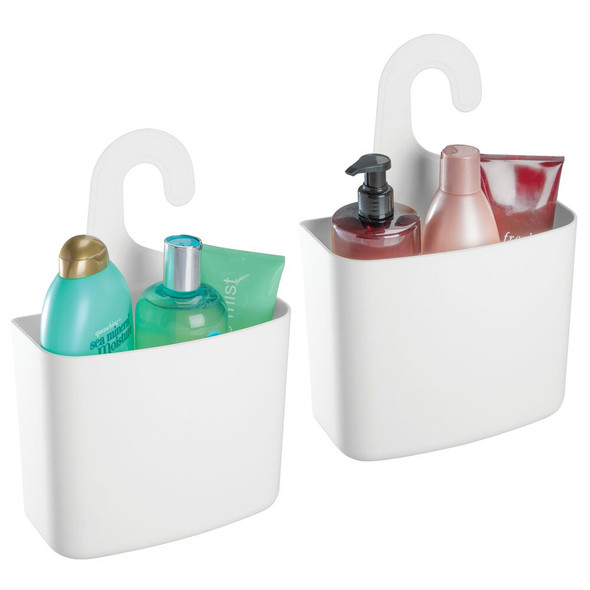 Plastic Bathroom Tub Shower Caddy with Hook for Hanging Storage
