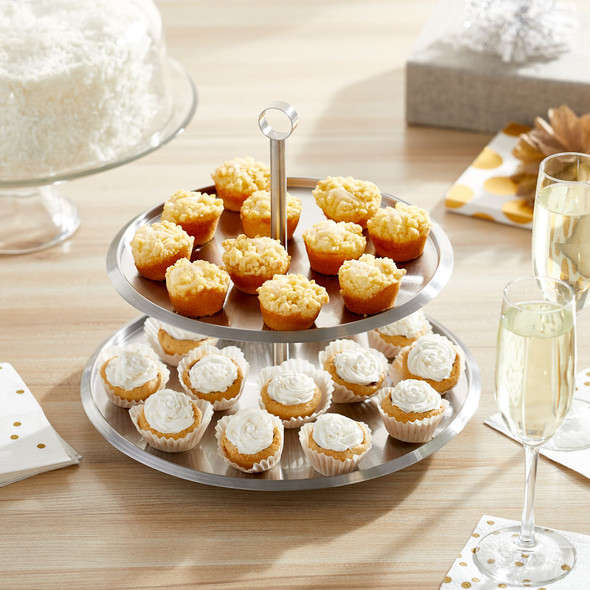 Multi-Tier Serving Stand, Round Display Tray - Stainless Steel