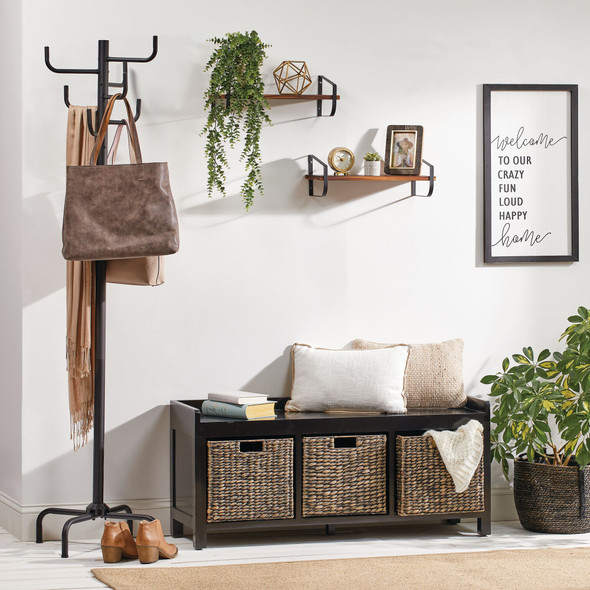 Entryway Bench with 3 Woven Baskets