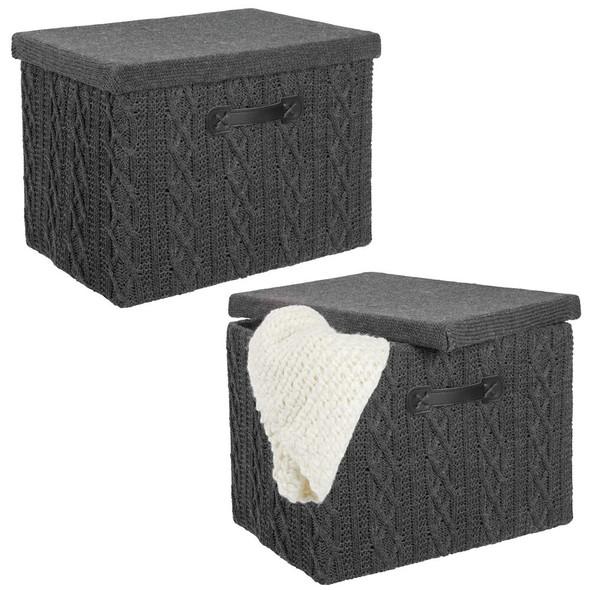 Medium Knit Fabric Storage Box with Lid - Pack of 2