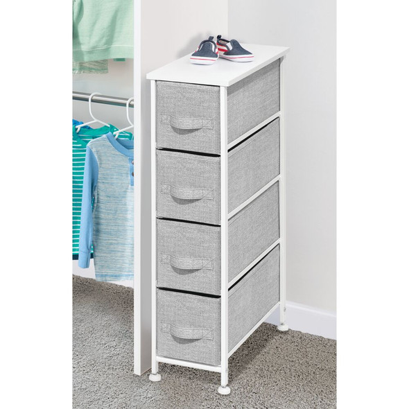 4 Drawer Narrow Vertical Dresser with Fabric Drawers