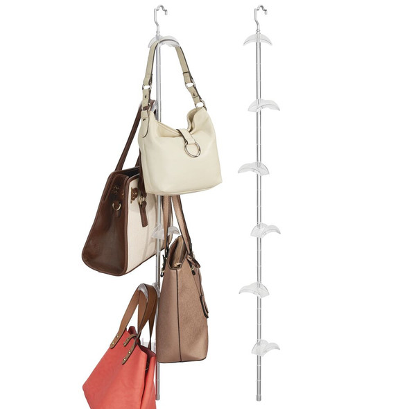 6 Hook Hanging Handbag & Accessory Holder in Silver/Frost - Pack of 2
