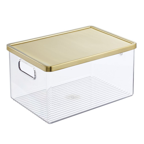 Plastic Closet Storage box with Handles and Steel Lid