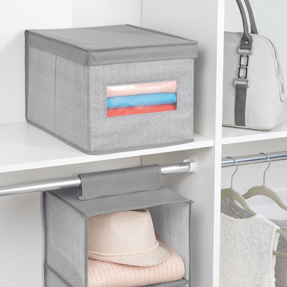 Large Fabric Storage Boxes with Clear View Window - Pack of 4