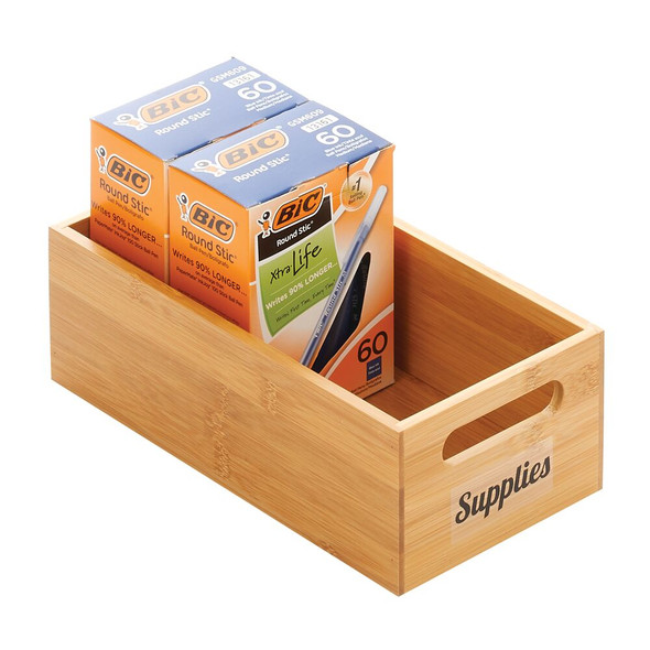 Bamboo Office Organizer Bin with 32 Labels