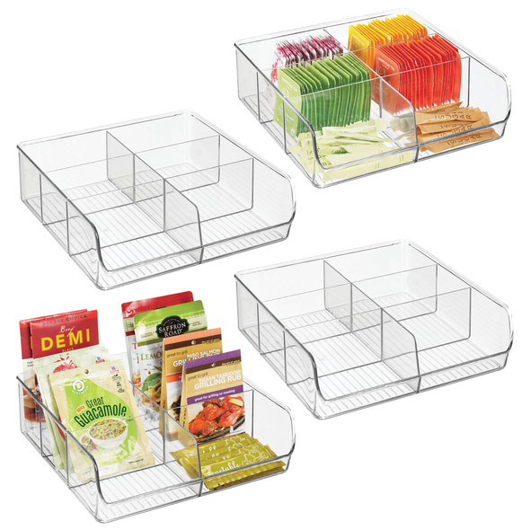 Plastic Stackable 6 Section Organizer - Pack of 4