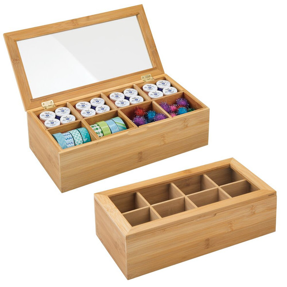 8 Compartment Bamboo Craft Organizer - Pack of 2