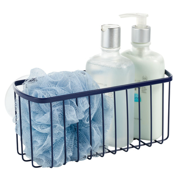 Metal Wire Suction Cup Rectangular Shower Basket