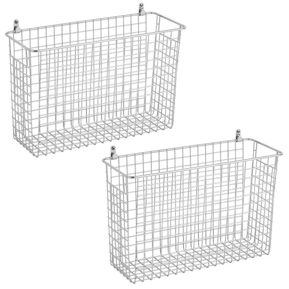 Metal Wire Wall Mount Storage Baskets - Pack of 2