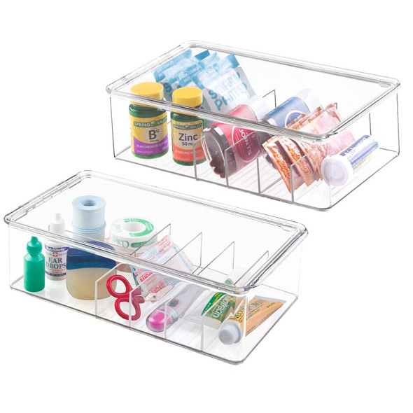 "6 Section Plastic Bathroom Storage Box for Vitamins - 7.25"" x 12.75"" x 3.75"""
