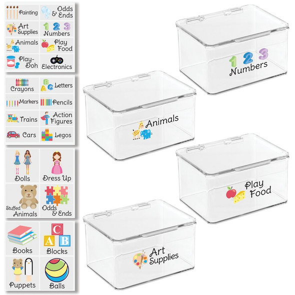 """Plastic Toy Bins with Labels - 5.5"""" x 6.6"""" x 3.7"""" - Pack of 4"""
