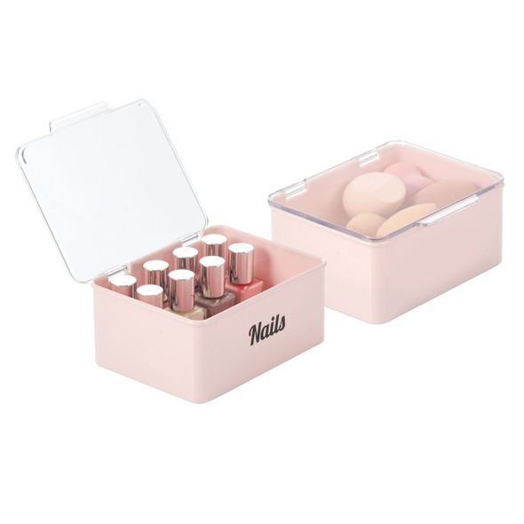 Cosmetic Bins with Labels - 5.6 x 6.7 x 3, Pack of 2