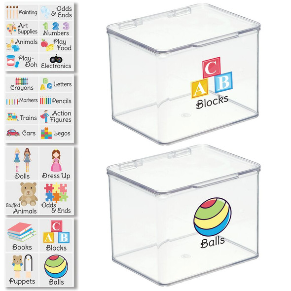 """Plastic Toy Bins with Labels - 5.5"""" x 6.6"""" x 5"""" - Pack of 2"""