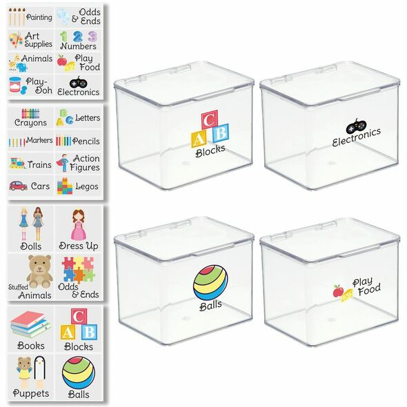"""Plastic Toy Bins with Labels - 5.5"""" x 6.6"""" x 5"""" - Pack of 4"""