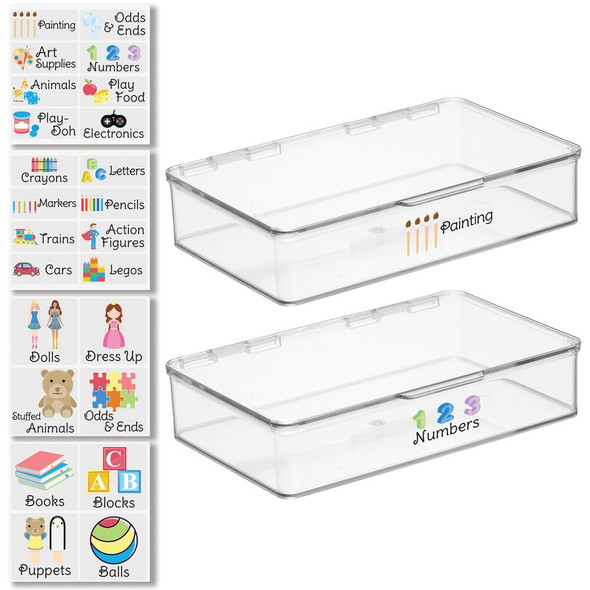 """Plastic Toy Bins with Labels - 7.1"""" x 10.7"""" x 2.3"""" - Pack of 2"""