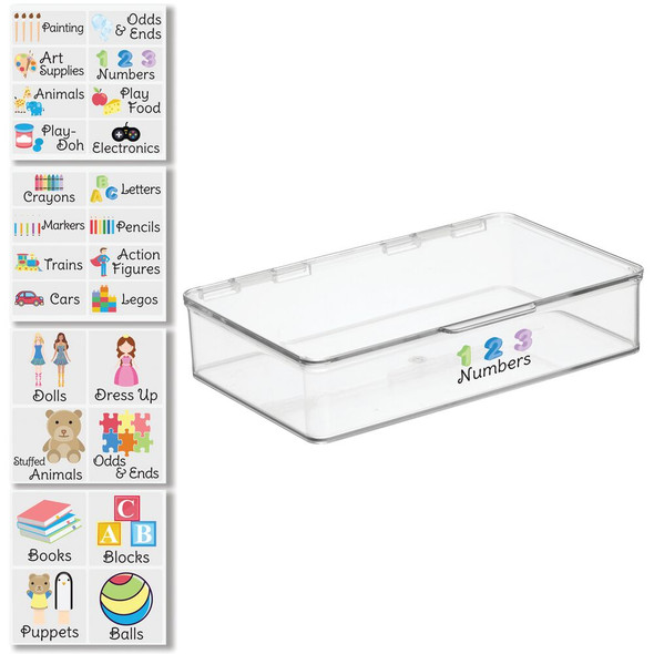 """Plastic Toy Bin with Labels - 7.1"""" x 10.7"""" x 2.3"""""""