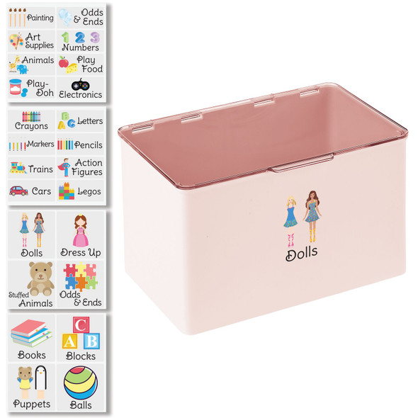 """Plastic Toy Bin with Labels - 7.1"""" x 10.7"""" x 6.5"""""""