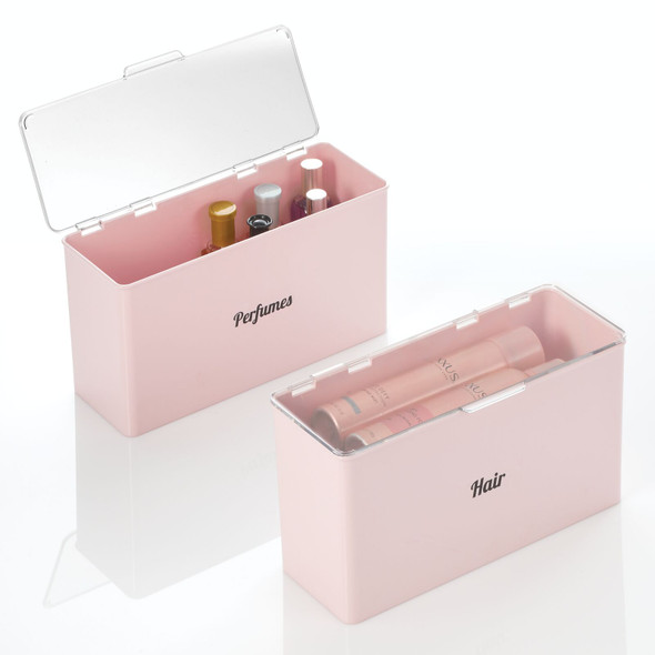 Plastic Stackable Cosmetic Bins with Labels - Pack of 2