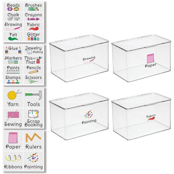 """Plastic Craft Storage Bin with Labels - 7.1"""" x 10.7"""" x 6.5"""" - Pack of 4"""