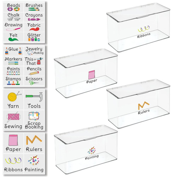 """Plastic Craft Storage Bin with Labels - 5.75"""" x 13.4"""" x 7"""" - Pack of 4"""