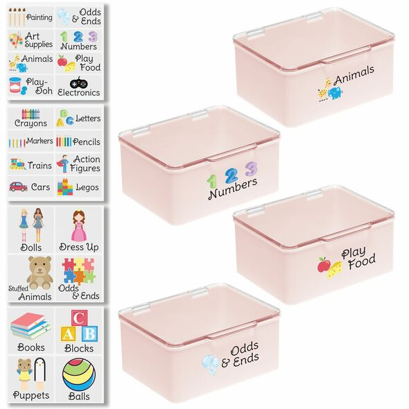 """Plastic Toy Bins with Labels - 5.6"""" x 6.7"""" x 3"""" - Pack of 4"""