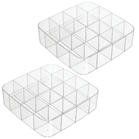 16 Compartment Plastic Drawer Organizer - Pack of 2