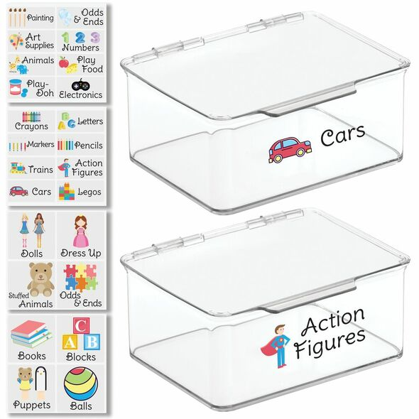"""Plastic Toy Bins with Labels - 5.6"""" x 6.7"""" x 3"""" - Pack of 2"""