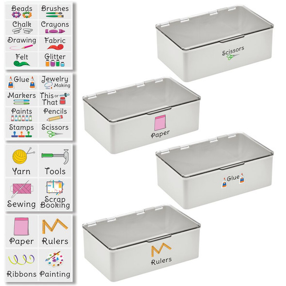 """Plastic Craft Storage Bin with Labels - 7.1"""" x 10.7"""" x 3.7"""" - Pack of 4"""