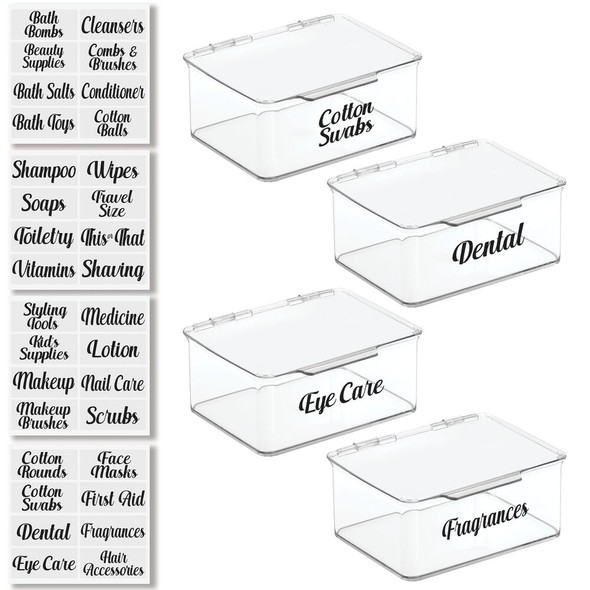 Stackable Bath Storage Bins with Labels - Pack of 4