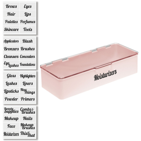 Plastic Cosmetic Bins with Labels - 13.2 x 5.7 x 3