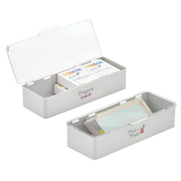 """Plastic Craft Storage Bin with Labels - 5.5"""" x 13.3"""" x 3"""" - Pack of 2"""