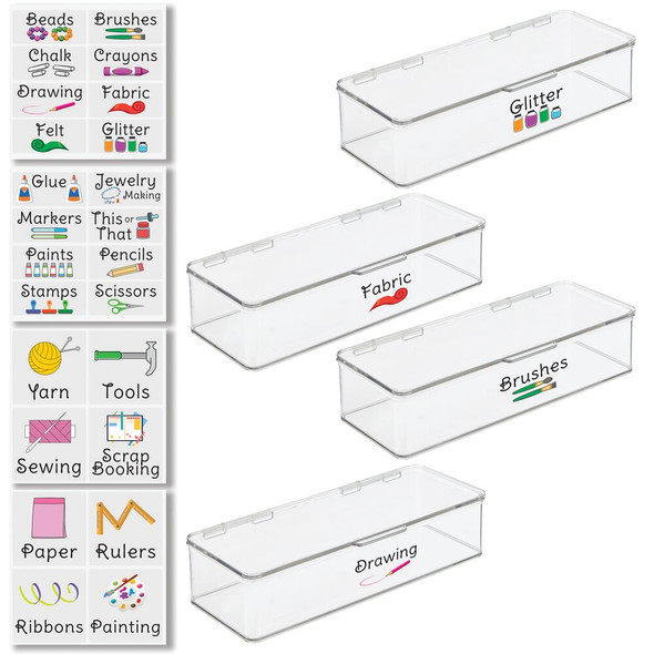 """Plastic Craft Storage Bin with Labels - 5.5"""" x 13.3"""" x 3"""" - Pack of 4"""